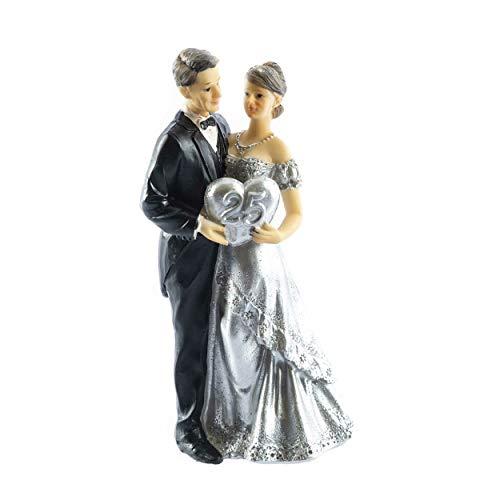 knuellermarkt.de Tortenfigur Hochzeits-Figur Silberne Hochzeit Silberhochzeit Deko Dekoration 25