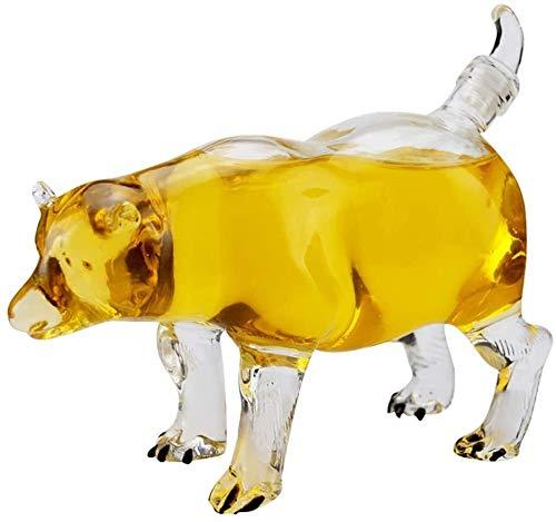 WJJ Botella de Whisky Cristal Botella De Vino De Vidrio De Alto Borosilicato En Forma De Oso, Decantador De 500 Ml, Botella De Vino De Cristal Con Forma De Perro Hueca, Regalo Sorpresa Decantadores de