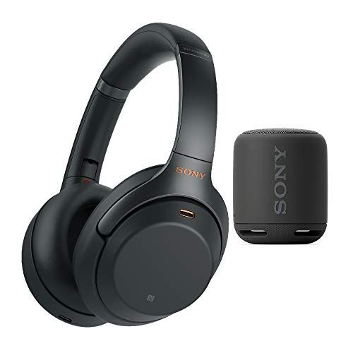 Sony WH-1000XM3 Wireless Noise-Canceling Over-Ear Headphones (Black, with Carrying case) Bundle Extra Bass Portable Wireless Bluetooth Speaker (Black) Bundle