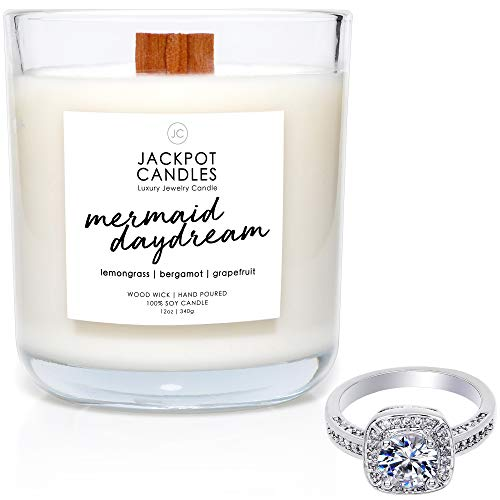 Mermaid Day Dream Candle with Ring Inside (Surprise Jewelry Valued at $15 to $5,000) Ring Size 8