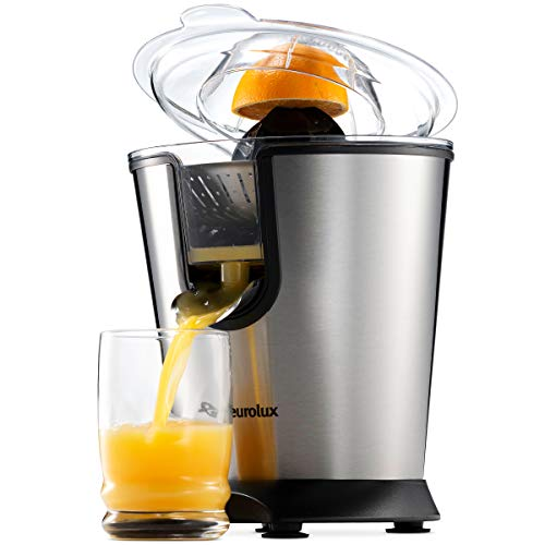 Eurolux Electric Citrus Juicer Squeezer for Orange Lemon Grapefruit With 160 Watts of Power Brushed Stainless Steel