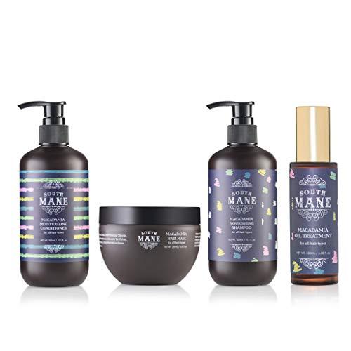 South Mane Macadamia Hair Care Set: Shampoo,Conditioner,Mask,Oil