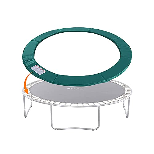 TIANC Trampoline Protection Mat, Trampoline Safety Pad Round Spring Water-Resistant Protection Cover Pad Fits 15ft 14ft 12ft 10ft 8ft 6ft Frames,Trampoline Accessories,No Holes for Poles (Green,14ft)