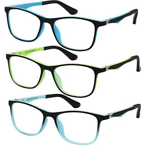 Brille für Kinder, blaues Licht, blockiert Computer/Video/Gaming, Brille für Jungen und Mädchen, niedliche bunte quadratische Rahmen, Anti-Augenbelastung, reduziert Blendung, 3 Stück