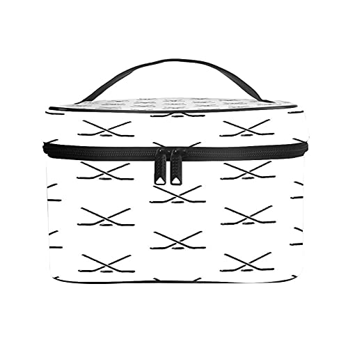 CIKYOWAY PU Kosmetiktasch,Hockeyschläger-Muster,Tragbare Wasserdicht Makeup Tasche Organizer Kulturtasche mit,Tragegriff 25×18×15cm