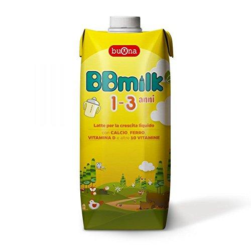 BBmilk 1-3 anni liquido - Latte di crescita liquido appositamente formulato per bambini da 1 a 3 anni di età, pronto all'uso – 500 ml - confezione 12 pezzi