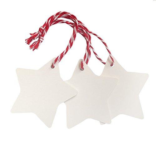 Doutop Geschenkanhänger Weihnachten Anhänger für Weihnachtsgeschenk Adventskalender Weiß Stern Geschenk Etiketten 100tlg. Gift Tags mit 2000cm Rot Baumwollkordel