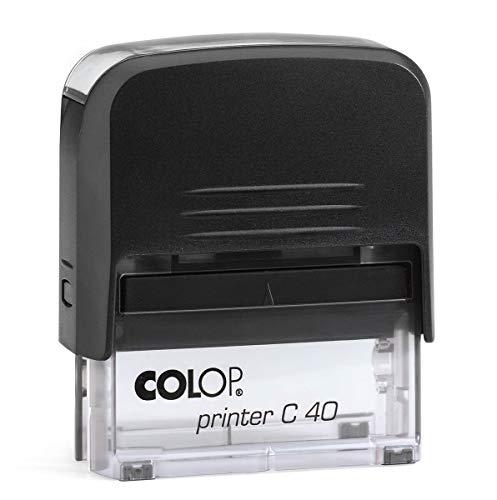 Timbro Personalizzato Autoinchiostrante Colop C40 - Ideale per Ufficio, Scuola, Lavoro - Dimensioni mm 59x23 - Colore Nero. Componi on-line il tuo timbro!