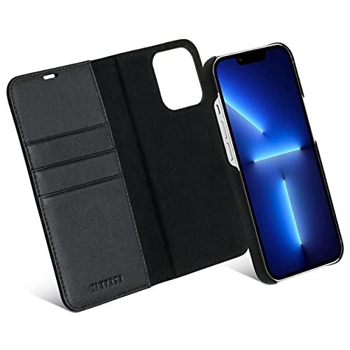 KANVASA iPhone 13 Pro Hülle Leder Hülle Lederhülle 2 in 1 schwarz Luxus Echtleder Cover Handyhülle für Original iPhone 13 Pro (6,1 Zoll) - Kabelloses Laden Qi möglich