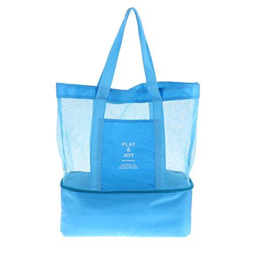 Sharplace Sac de Rangement Sac à Main Poche Portable Compartiment Isotherme Idéal pour Plage/Piscine/Pique-Nique - Bleu, 37 x 42 x 15 cm
