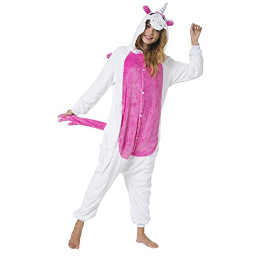 Katara 1744 - Funny Unicorn Onesie Jumpsuit - Animal Costume Cosplay Overall Pyjamas - Unisex Adults, Pink-White M
