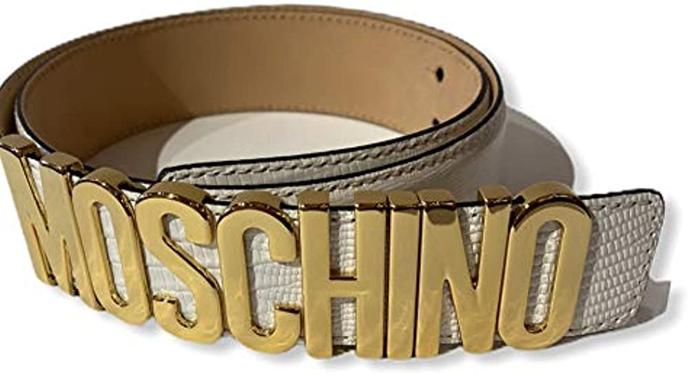 Moschino cintura pelle bianca  con scritta logo in oro