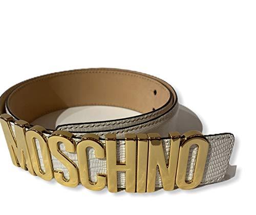 Cintura pelle bianca Moschino Couture con scritta logo in oro altezza 3,5 tg46