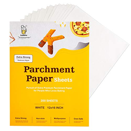 Katbite Parchment Paper Sheets 200, 12x16 Inch Parchment Sheets for Baking Cookies, Bread, Meat