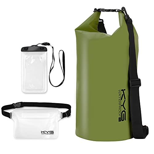 KYG Bolsa Estanca Impermeable 10L Set de Mochila Estanca con Funda de Móvil y Bolsa de Cintura, Bolsa Seca para Playa y Deportes al Aire Kayak Senderismo Esquí Pesca Escalada Camping, Verde