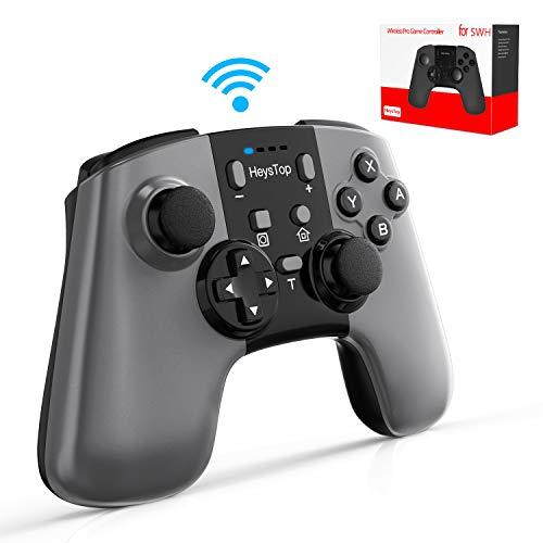 HEYSTOP Mandos para Nintendo Switch, Switch Pro Controller Wireless Controlador Inalámbrico Apoya Vibración, Turbo y Recargable de Batería 600mAh para Nintendo Switch/Nintendo Switch Lite Windows PC
