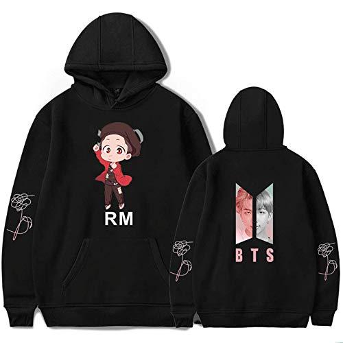 HUANHE BTS Rm Hoodie Boy Girls Idol Long Sleeve Sweatshirt Hip Hop Fashion Casual Loose Clothing XXS-4XL Black