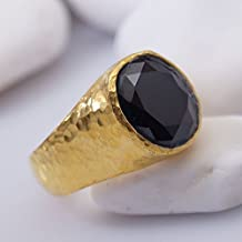 Bold Collection Onyx Unisex Men's Ring By Omer Handmade 925 k Sterling Silver 24k Gold Vermeil