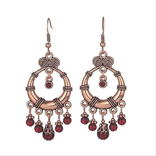 Boucle d'oreille Dangle Vintage luxe Goldn gland boucles d'oreilles pour les femmes à la main Boho résine cristal perles boucle d' oreille de mariée femme déclaration E022448