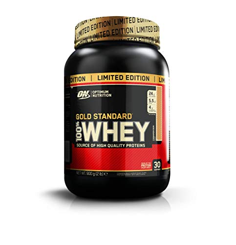 Optimum Nutrition Gold Standard Whey Protein Powder Muscle Building Supplements with Glutamine and Amino Acids, Cinnamon Bun, 30 Servings, 900 g