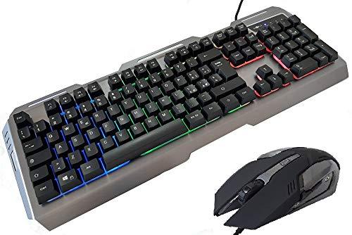 tastiera gaming 48 tasti MYKA Kit Tastiera e Mouse Gaming KM-G1 Tastiera in Metallo RGB Alluminio Retroilluminata Mouse 3200DPI 6D Alluminio 7 Colori