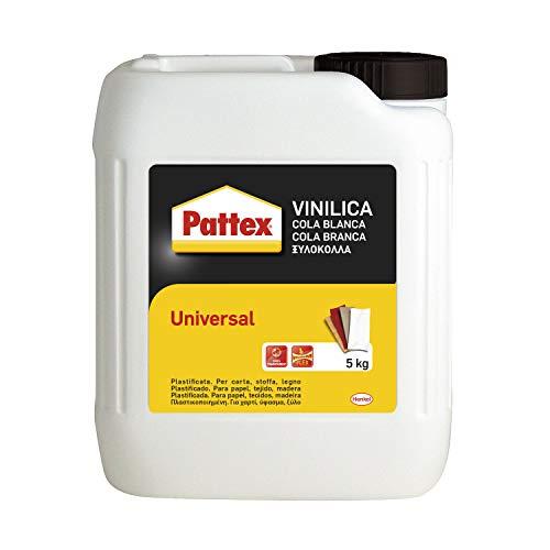 Pattex Vinilica Universale Colla liquida, Colla legno, sughero, feltro, tessuti, carta, cartone, ecc., Colla vinilica bianca all'uso e trasparente quando asciutta, tanica 5kg