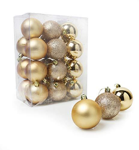 christmasshop Sfera Decorativa Set infrangibile Assortiti–Confezione da 24–Decorazioni dell' Albero di Natale One Size (60mm) Oyster Gold