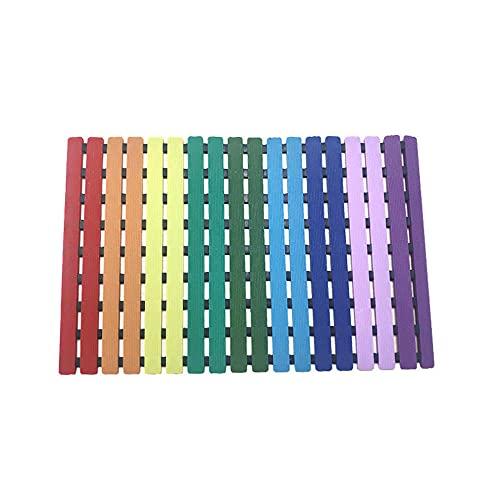 Color Rojo Azul Rainbow Almohadilla de Arco Iris Mateta Antideslizante Medio Ambiente Anti-moldes Anti-moldes Anti-moldes-C4 Alfombra de baño para niños pequeños y adultosRespetuoso con el Medio