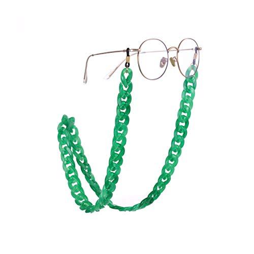 fishhook Brillen Kette Mode Acryl Brillen Sonnenbrillen Lesebrille rutschfeste schwarz Kautschukband Keeper Lanyard Halter Halskette für Frauen Männer (Mintgrün)