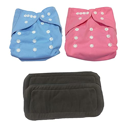 Ineffable Baby Reusable Cloth Diaper Nappies With 6 - Layered Microfiber Insert Pad Free Size Combo (Set of 2) For Newborn Toddler Infant (Blue & Pink   Assorted Colours) 0 - 2 years