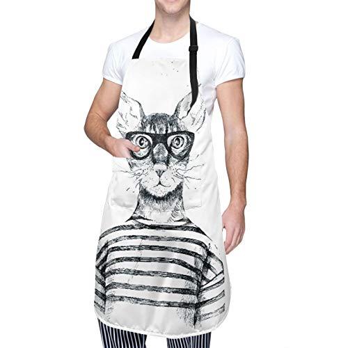 DAHALLAR Ajustable Colgante de Cuello Personalizado Delantal Impermeable,Dibujado a mano disfrazado gato Hipster,Babero de Cocina Vestido para Hombres Mujeres con 2 Bolsillos Centrales