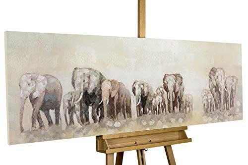 KunstLoft® Acryl Gemälde \'Weg der Elefanten\' 150x50cm | original handgemalte Leinwand Bilder XXL | Elefanten Savanne Beige Braun Deko | Wandbild Acrylbild Moderne Kunst einteilig mit Rahmen