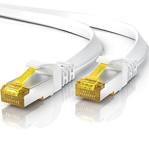 Cable de Red Cat.7 7,5 metros Plano - Cable Ethernet -Gigabit Lan 10 Gbit s -Cable de Conexión - Cable Plano- Cable de Instalación - Cable en Bruto Cat 7 Apantallamiento U FTP PiMF con Conector RJ45