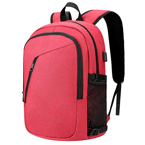 Laptop Backpack Business Water Resistant Durable Laptops Backpack with USB Charging Port Anti Theft College School Bookbag for Women Men Boys Fit 15.6 Inch Laptops and Notebook (Red)