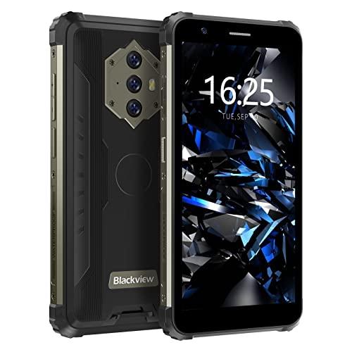 Blackview BV6600E Outdoor Smartphone ohne Vertrag Android 11, 5,7 Zoll HD+ Bildschirm Octa Core 4GB RAM/128GB Erweiterbar, 13MP +5MP, Fingerabdrucksensor, IP68 Wasserdicht Handy mit 4G Dual SIM - Schwarz