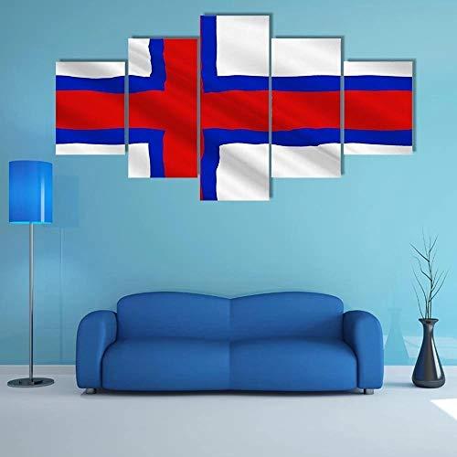 QQQAA Flagge der Färöer Leinwandbilder 150x80cm Vlies Leinwandbild 5 teilig kunstdrucke modern wandbilder XXL Wanddekoration Design wandbild