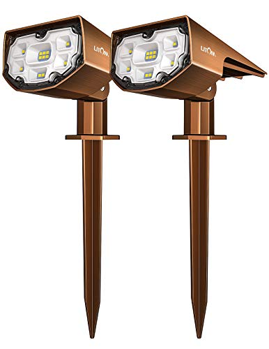 LITOM 12 LEDs Spotlights IP67 Waterproof Powered Wall Bronzed-Colored Wireless Outdoor Solar Landscaping Lights for Yard Garden Driveway Walkway Patio 2 Pack Cold White