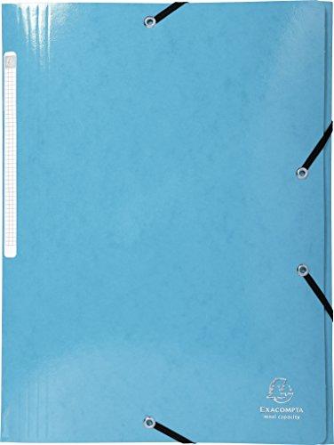 Exacompta 55927E Sammelmappe (Iderama mit 3 Klappen und Gummizug, 600g/qm, A4, Maxi Kapazität, Manila-Karton) 1 Stück hellblau