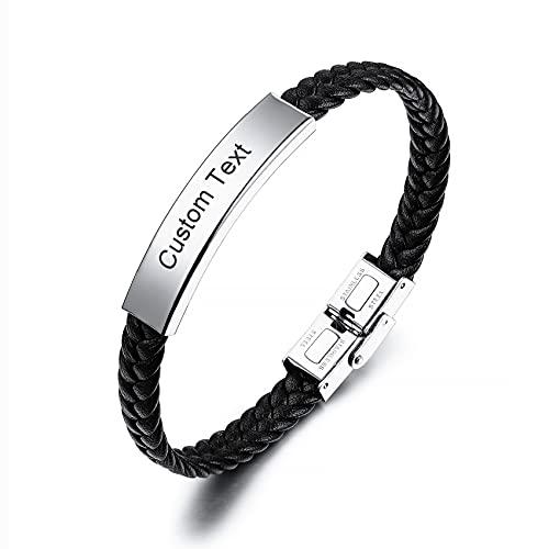 MunkiMix Cinturón de Cuero Trenzado Personalizado Pulseras Ajustables Accesorios grabables de Acero Inoxidable para Hombres, Mujeres, niños, niñas, cinturón (cinturón Negro)