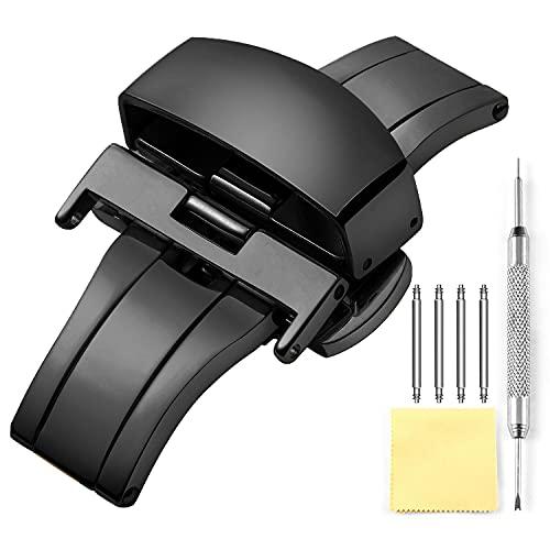 fibbia cinturino orologio Chiusura a Farfalla Sostituzione Deployante Orologio Fibbia Lucidato in Acciaio Inossidabile Per Cinturino in Pelle - Oro
