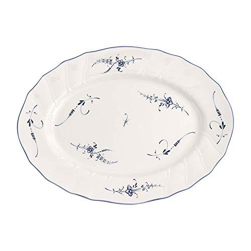 Villeroy & Boch Vieux Luxembourg Ovale Servierplatte, 36 cm, Premium Porzellan, Weiß/Blau, Porcelain