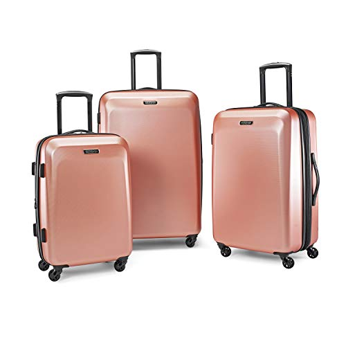 American Tourister Moonlight Hardside Expandable Luggage with Spinner Wheels, Rose Gold, 3-Piece Set (21/24/28)