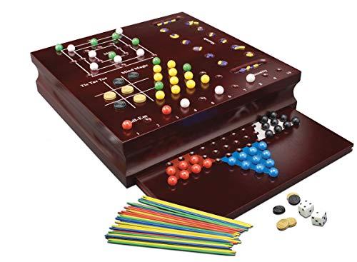 Zig Zag - Maxi Box in Legno - 10 Giochi da Tavolo - Include Scacchi, Dama, Backgammon, Dama Cinese, Mancala, Insanity, Mulino,...