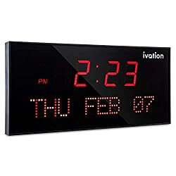 Ivation Big Oversized Digital Blue LED Calendar Clock with Day and Date - Shelf or Wall Mount(22 inches - Red LED)