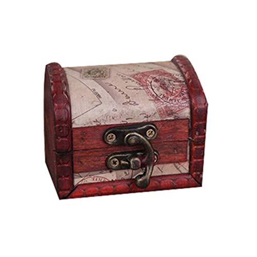 collectsound Caja de almacenamiento de madera con cerradura de metal estilo retro con sello