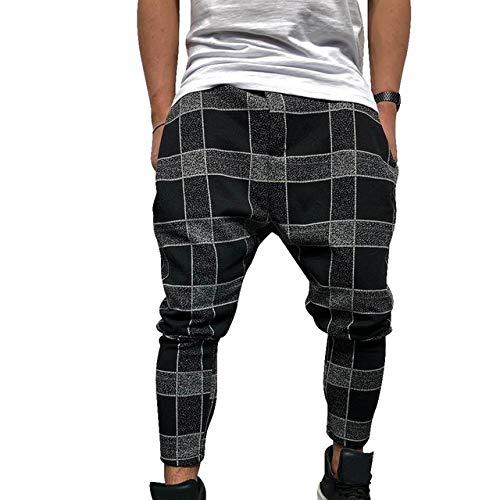 N/ A Pantalones de Moda Casual para Hombres Pantalones de Cuadros Sueltos Pantalones de harén Ocasionales Impresos...