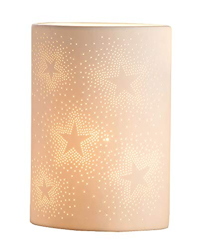 GILDE Lampe Sterne - aus Porzellan mit Lochmuster im Prickellook weiß H 26 cm