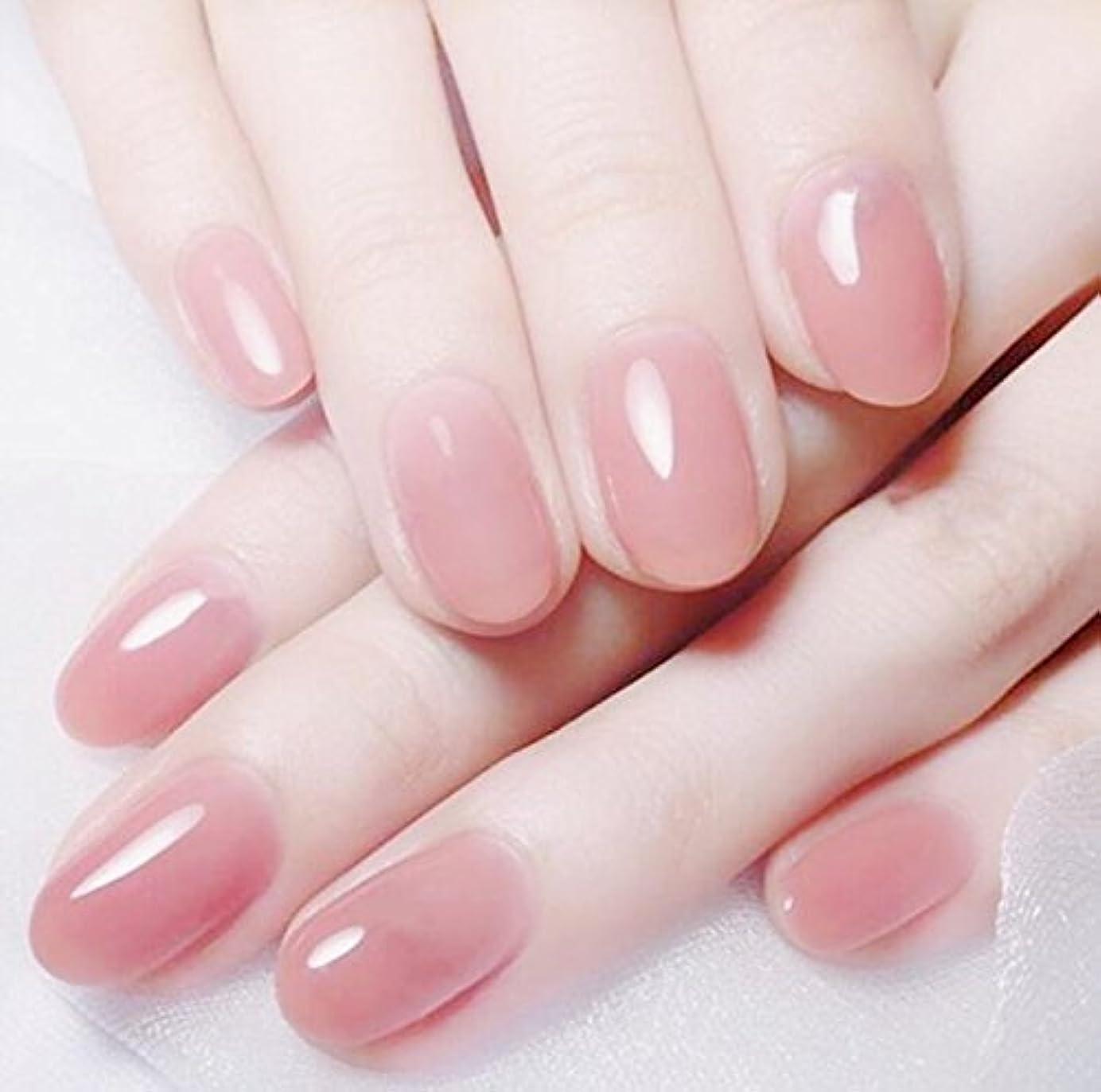 心臓ソファーところで24 pcs ネイルチップ 夏の 無地 透明 ゼリー ピンク 可愛い ウェディング ブライダル 優雅 短い