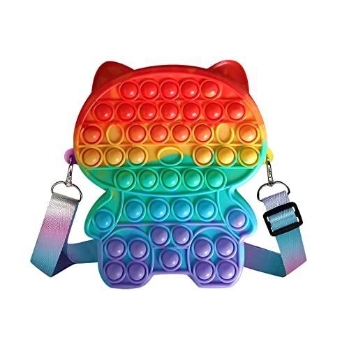 Pop Bubble Fidget Toy Handtasche,Pop Bubble Tasche,2 in 1 Fidget Toys Taschen mit Verstellbarer Schultergurt,Pop Push it für Kinder und Erwachsene - Ideal als Anti-Stress-SpielzeugIdeal