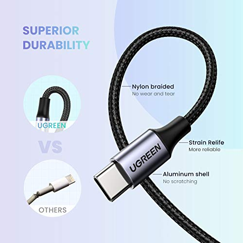 UGREEN USB C Klinke Kabel Nylon geflochten Aux Kabel USB C auf 3.5mm Jack Kabel kompatibel mit Huawei Mate 30Pro, P30 Pro, P20, Mate 20Pro, Mate 10Pro, Xiaomi Mi 9/9SE/8/A2/Mix 3,Oneplus 8/7 usw (2M)